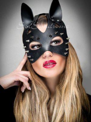 Ledermaske Katze mit Dornen Accessoire Sex Zubehör