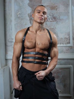 Leather harness for men